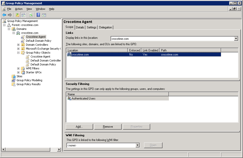 Installation of СrocoTime Agent using GPO - CrocoTime